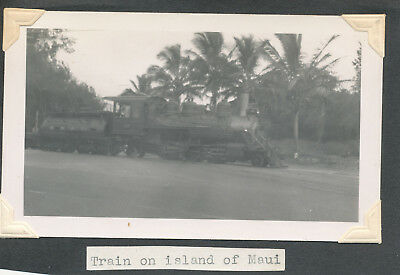 WWII 1940s Train on Maui Hawaii photo Kahalui Rail Road Co, Engine & Tender