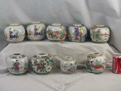 Nine Antique Chinese Porcelain Famille Rose Verte Figures Jars