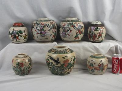 Seven Antique Chinese Porcelain Famille Verte Figures Crackle Jars
