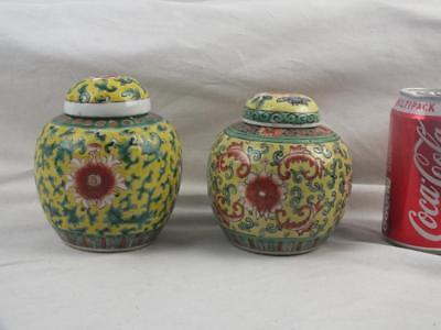 Two Antique Chinese Porcelain Famille Verte Jaune Small Jars And Covers