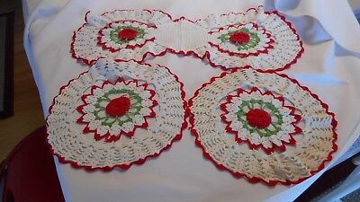 Vintage Doilie Lot Hand Crocheted Red Roses Used AS IS  (AH