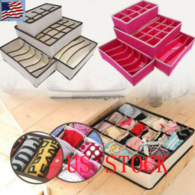Underwear Divider Closet Organizer Storage Box Bra Ties Socks Container Case 520