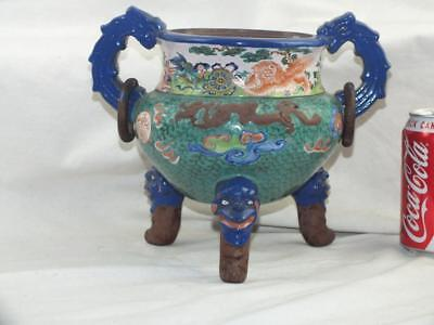 Unusual 19Th C Chinese Enamelled Yixing Ring Handled Censer