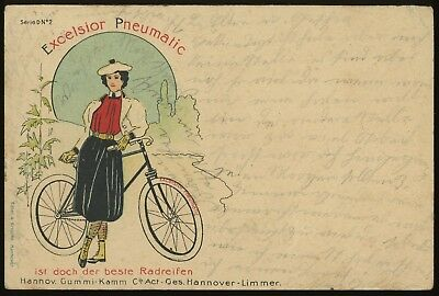 1904 Excelsior Pneumatic Girl Bicycle Tire Advertising Postcard #2