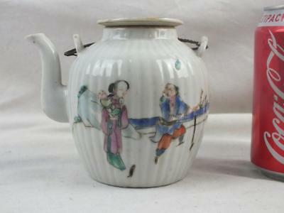 Antique Chinese Porcelain Famille Rose Fluted Figures Teapot