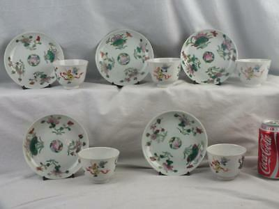 Set Of 5 Antique Chinese Republic Famille Rose Teabowls & Saucers - Marked