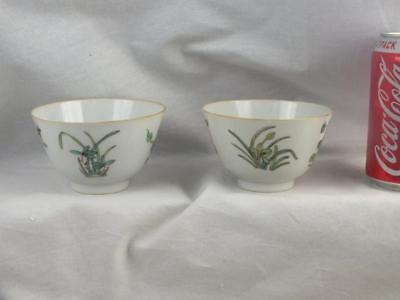 Two Antique Chinese Republic Porcelain Famille Rose Teabowls - Marked