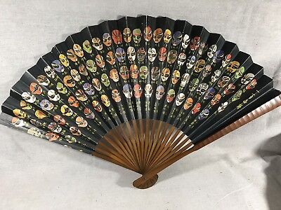 Bamboo Folding Fan Japanese Opera Masks