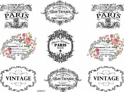 VinTaGe IMaGe FRenCh PaRiS LaBeLs ShaBby WaTerSLiDe DeCALs TRanSfeRs FL5