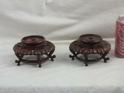 Pair Antique Chinese Pierced Wooden Stands