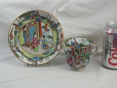 Unusual Fine 19Th C Chinese Canton Famille Rose Figures Calligrpahy Cup & Saucer