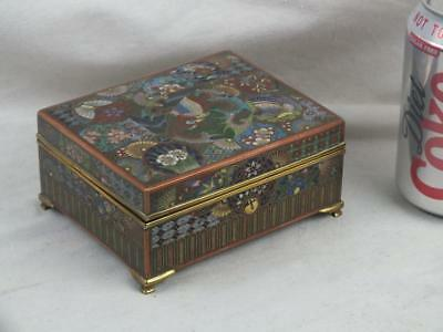 Fine Japanese Kyoto Meiji Cloisonne Phoenix Box And Cover