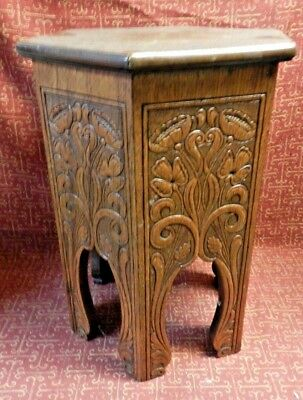 Antique Art Deco Fully Carved Arts & Crafts Mission Oak Wood, Table Plant Stand