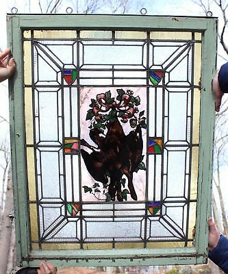 Antique Leaded Glass Window, Kiln Fired Hunting Game Duck & Rabbit Painting NR