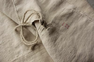 Antique French GRAIN SACK olive bag early 19th / 18th C  PRIMITIVE TIMEWORN OLD