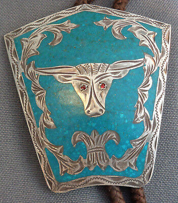 Handmade Bolo Slide Longhorn Steer Crushed Turquoise Sterling Silver Jalisco Mex
