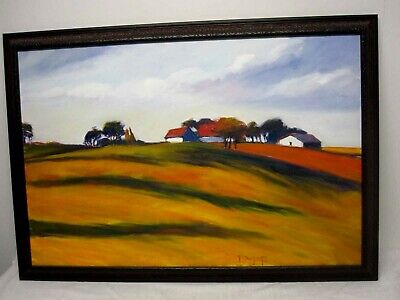 """SIGNED JANET DYER ORIGINAL OIL ON CANVAS PAINTING FARM SCENE on ROLLING HILL 36"""""""
