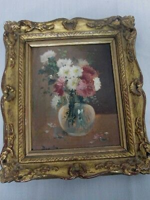 Antique Signed Oil On Board French School Painting Still Life Flowers In Vase