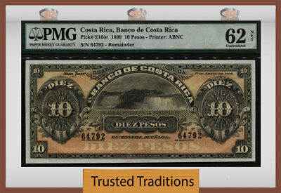 """TT PK S164r 1899 COSTA RICA 10 PESOS """"119 YEAR OLD NOTE"""" PMG 62 UNCIRCULATED!"""