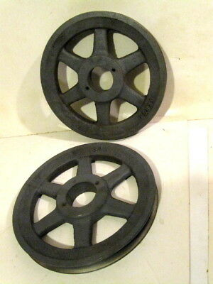 """2 Vintage Cast Iron Pulley Wheels 7.75"""" Industrial Steampunk Factory"""