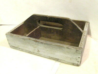 Vintage Antique Primitive Rustic Folk Wood Tray Carrier Nail Tool Box.  Handmade