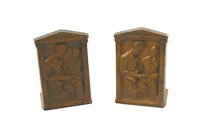 Antique 1922 Pair Abraham Lincoln & Tad Bookends Signed by Sculptor Olga Muller