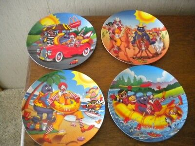 MCDonald's 1998 VACATION PLATES, Set of FOUR Beach, Rafting, car, riding horses