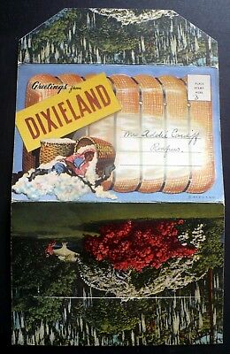 1937 Greetings from Dixieland Cotton Sugar Cane Black Americana