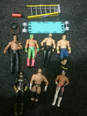 WWE WWF Mattel  Elite Basic 7 Wrestling Figures Rock Cena Triple H Accesories