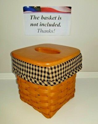 Tall Tissue Basket Liner from Longaberger Khaki Check fabric! New!