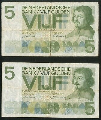 Netherlands: 2 types of 5 gulden 1966 including 6AA serial number! P90a and P90c