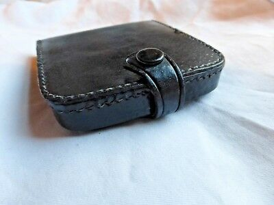 Black vintage mens real leather coin tray purse wallet