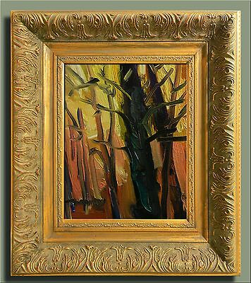 JOSE TRUJILLO MODERNIST IMPRESSIONISM FRAMED Oil Painting SUNSET TREES TRUNKS