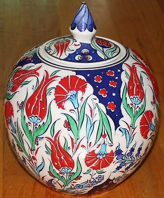 "CLEARANCE 9""x8"" Handmade Turkish Iznik Floral Pattern Ceramic Jar Urn Canister"