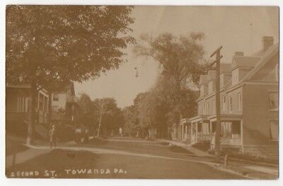 RPPC~1909~Towanda,PA~SECOND STREET~Bradford County,Pennsylvania PHOTO POSTCARD