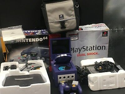 Lot Of 3 Vintage Classic Game Consoles Nintendo Cube, N64 And Playstation 1