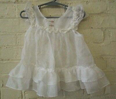 Retro Little Girls Sz 2, White Polyester Pinafore w/ Floral Pattern