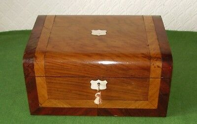 ANTIQUE BOX WALNUT & MOTHER OF PEARL SEWING JEWELLERY BOX & KEY VICTORIAN c 1880