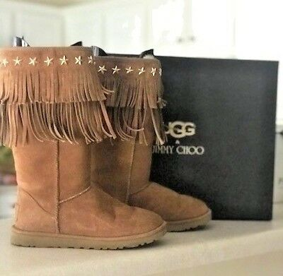 55473e3e773 Women s UGG Jimmy Choo Sora Chestnut Fringe Suede Boots Size 7 LIMITED  EDITION!