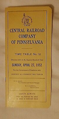 Central Railroad Company Of Pa Railroad Timetable Jersey Central Lines 1952