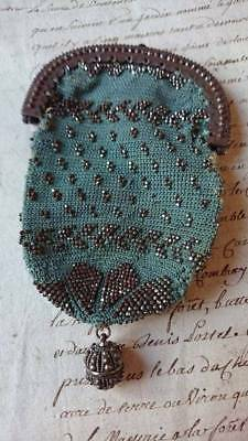 SWEET ANTIQUE FRENCH PETITE METAL BEADED PURSE CHANGE PURSE c1880