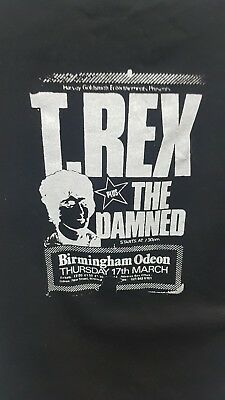 T Rex ticket T shirt hand made screen print supported by The Damned Marc bolan