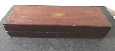 Antique Wood Poker Chip / Playing Card Holding Box Felt Lined Case with Lock