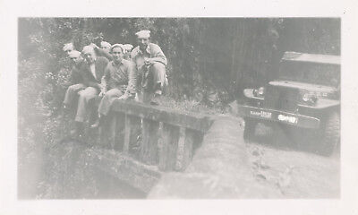 WWII 1944-5 Trip to Hana, Maui Hawaii  NASP sailor's photo Navy truck, bridge