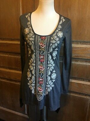 22e05acad6738 JOHNNY WAS GEMSTONE Embroidered Tunic Top Blouse Navy Blue - XS ...