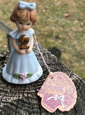 Enesco Growing Up Girls 2 Year Old Figurine New Old Stock With Tag And Box*NICE*