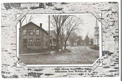65   c1910 Faux Birch Bark Postcard High St From The PO Gilmanton Iron Works NH