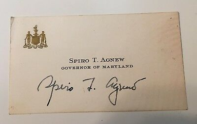 Spiro T. Agnew Govenor of Maryland Autographed Business Card