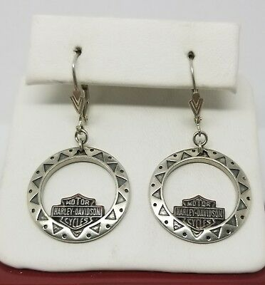 Rare Collectable Harley Davidson Motorcycles Earings Marked .925 Sterling Silver