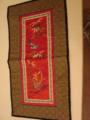 Vintage Chinese embroidered panel bird & blossom on red silk with woven border